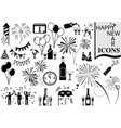 happy new year icon collection vector image