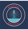 nautical lighthouse with blue sea nature poster vector image