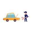 open car and mechanic with giant wrench vector image