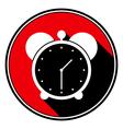 red round with black shadowwhite alarm clock icon vector image