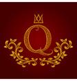 Patterned golden letter Q monogram in vintage vector image