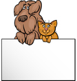 cat and dog with card cartoon design vector image