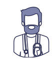 blue contour of half body of faceless bearded vector image
