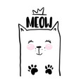 Cat lettering hand drawn vector image