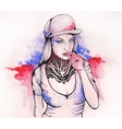 girl in a cap and tattoos vector image vector image