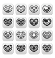 Folk hearts with flowers and birds buttons set vector image