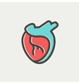 Human heart thin line icon vector image