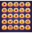 Set gold buttons for web video game in style vector image