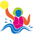 Sport icon design for water polo in colors vector image