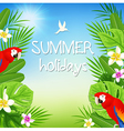 Tropical flowers and red parrots vector image vector image