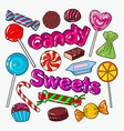 candies sweet food doodle with chocolates vector image