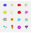 Flower icons set pop-art style vector image