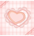 Pink checked background with two hearts vector image