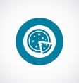 pizza icon bold blue circle border vector image