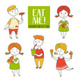 Set boys and girls food vector image