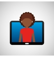 tablet black technology and character afro woman vector image