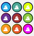 Poo icon sign Nine multi colored round buttons vector image