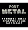Metal font ABC of iron Steel alphabet Metallic vector image