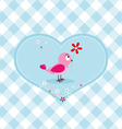 Pink bird with red flower vector image