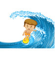 Man surfing on the big wave vector image