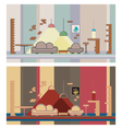 Set restaurant colorful interior design elements vector image