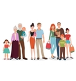 Happy family detailed couples with baby kid set vector image