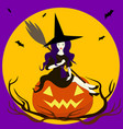 beautiful sorceress isolated sits on pumpkin vector image