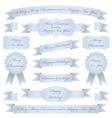 Blue christmas ribbons vector image