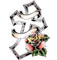 cross rose emblem vector image