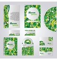 Green stationery template design vector image