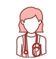 red contour of half body of faceless female doctor vector image