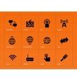 Networking icons on orange background vector image
