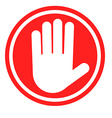 Stop sign with human hand Warning sign hazardous vector image