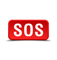 Sos red 3d square button isolated on white vector image