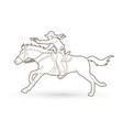 cowboy riding horseaiming gun outline graphic vector image