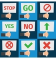 Hands holding protest sign and approval signs in vector image
