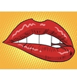 Red lips woman vector image