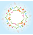 round frame with floral elements vector image