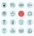 set of 16 meal icons includes tea bowl doorway vector image