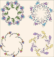 Set of floral bouquets hand drawn floral wreaths vector image