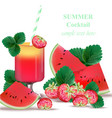 watermelon and strawberry smoothie delicious vector image