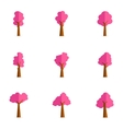 Set of pink tree collection vector image