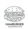 hand drawn hamburger icon vector image