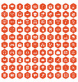 100 communication icons hexagon orange vector image vector image
