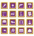 architecture icons set purple vector image