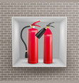 fire extinguisher in brick wall niche vector image