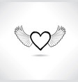 love heart with wings valentine day icon lost vector image