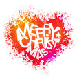 merry christmas bright colors watercolor heart vector image