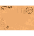 vintage christmas postcard with post stamp vector image
