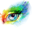 Woman eye made colorful splashes vector image